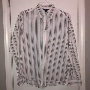 🏵Men's dress shirt, medium, white-thin stripes